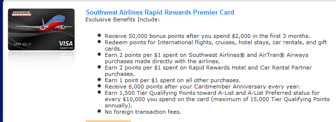 Southwest Visa Offer Details