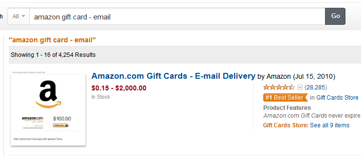 Amazon Gift Card email screen