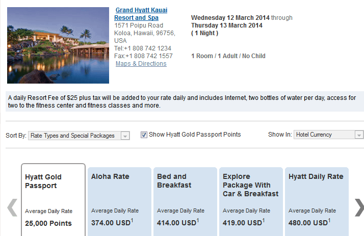Hyatt Free Nights Example