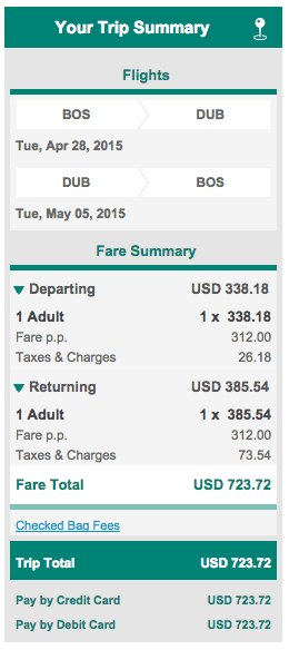 Boston to Dublin Aer Lingus Cost