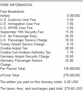 Zina 279 flight cost