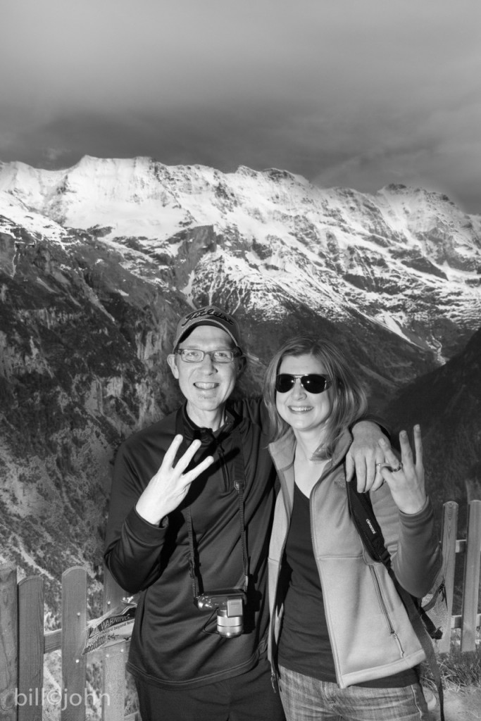 """The cool thing about this black & white one is a whole other story: On our first night, jet-lagged as could be, we took a walk to see some base jumpers. We ran into this professional photographer and got to chatting. He found out Harper was a cancer survivor (hence the """"3"""" for 3 years cancer-free) of the same kind of cancer his business partner and friend had. So he then and there offered our very own private photo shoot. It was super kind. Their site is: http://odysseyteams.com/"""