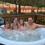 Our family in the hot tub