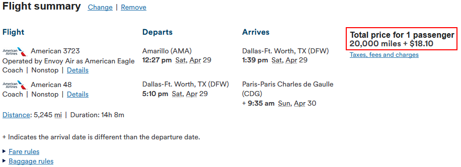 Alaska miles with American Airlines to Paris