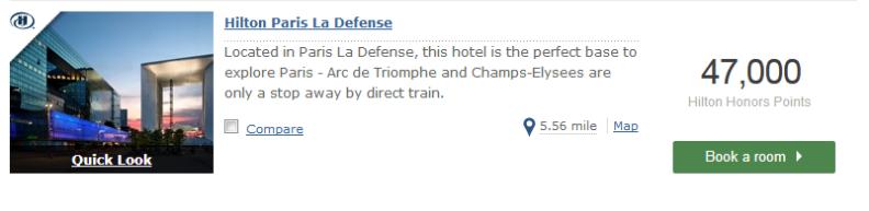 Hilton Paris La Defense Points Redemption
