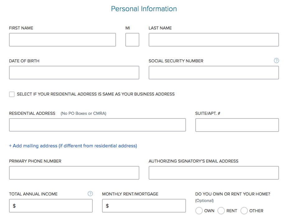 Capital One Personal Information