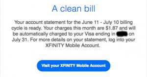 Xfinity Mobile Clean Bill