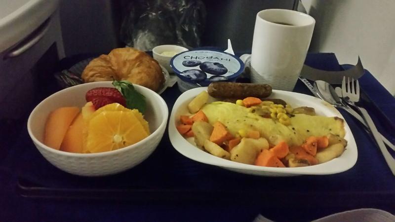 United Business Class Breakfast