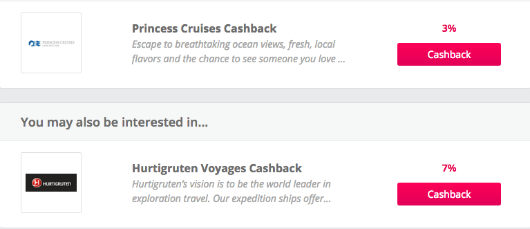 Cruise listings on TopCashback